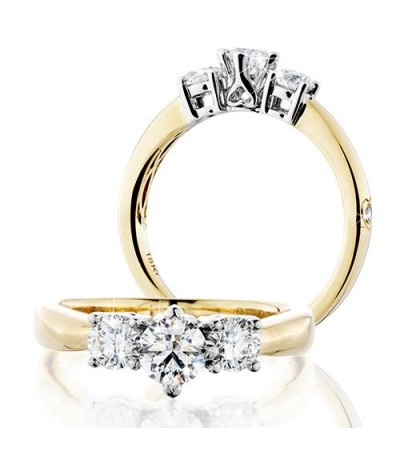 Rings - 1 Carat Round Brilliant Eternitymark Three Stone Diamond Ring 18Kt Yellow Gold