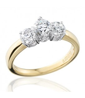 1 Carat Round Brilliant Eternitymark Three Stone Diamond Ring 18Kt Yellow Gold
