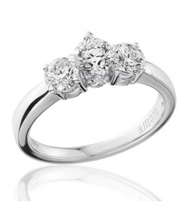 1 Carat Round Brilliant Three Stone Diamond Ring 18Kt White Gold