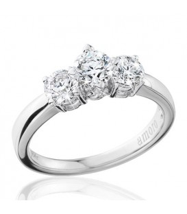 1 Carat Round Brilliant Eternitymark Three Stone Diamond Ring 18Kt White Gold