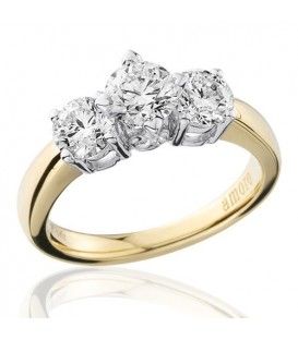 1.50 Carat Round Brilliant Three Stone Diamond Ring 18Kt Yellow Gold