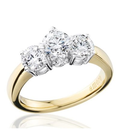 1.51 Carat Round Brilliant Eternitymark Three Stone Diamond Ring 18Kt Yellow Gold