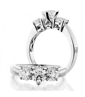 Rings - 1.50 Carat Round Brilliant Three Stone Diamond Ring 18Kt White Gold