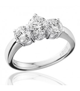 1.50 Carat Round Brilliant Three Stone Diamond Ring 18Kt White Gold