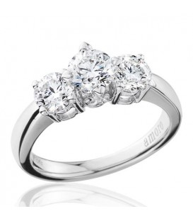 1.50 Carat Round Brilliant Eternitymark Three Stone Diamond Ring 18Kt White Gold