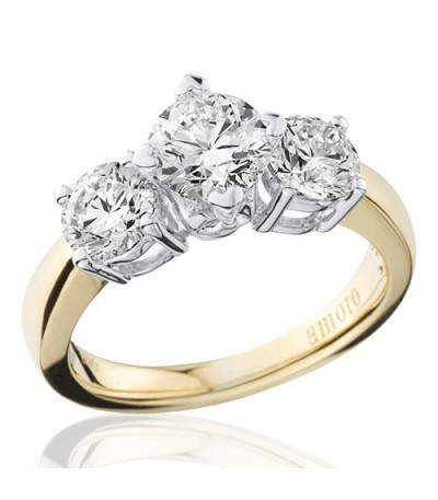 2.00 Carat Round Brilliant Three Stone Diamond Ring 18Kt Yellow Gold