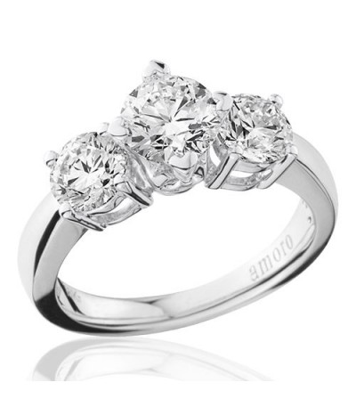 2.00 Carat Round Brilliant Three Stone Diamond Ring 18Kt White Gold