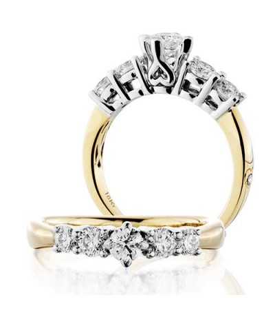 Rings - 0.50 Carat Round Brilliant Five Stone Diamond Ring 18Kt Yellow Gold