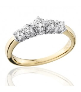 0.50 Carat Round Brilliant Five Stone Diamond Ring 18Kt Yellow Gold