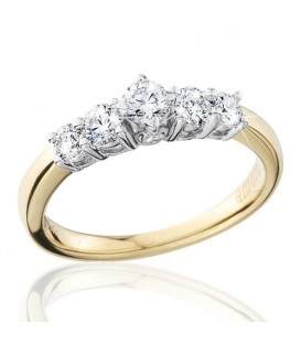 0.50 Carat Round Brilliant Eternitymark Five Stone Diamond Ring 18Kt Yellow Gold