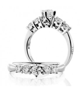 Rings - 0.50 Carat Round Brilliant Five Stone Diamond Ring 18Kt White Gold