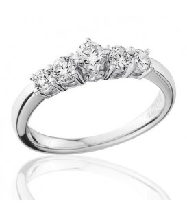 0.50 Carat Round Brilliant Five Stone Diamond Ring 18Kt White Gold
