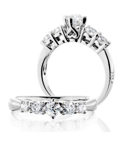 Rings - 0.50 Carat Round Brilliant Eternitymark Five Stone Diamond Ring 18Kt White Gold