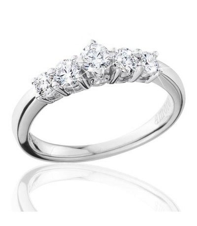 0.50 Carat Round Brilliant Eternitymark Five Stone Diamond Ring 18Kt White Gold