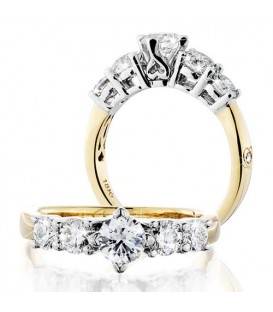 Rings - 0.75 Carat Round Brilliant Eternitymark Five Stone Diamond Ring 18Kt Yellow Gold