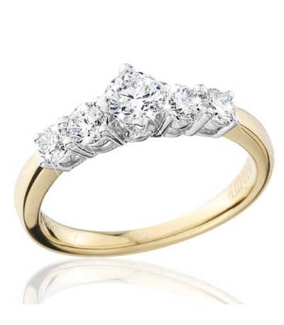 0.75 Carat Round Brilliant Eternitymark Five Stone Diamond Ring 18Kt Yellow Gold
