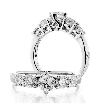 Rings - 0.75 Carat Round Brilliant Five Stone Diamond Ring 18Kt White Gold