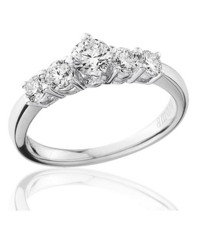 0.75 Carat Round Brilliant Five Stone Diamond Ring 18Kt White Gold