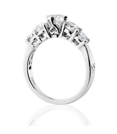 0.75 Carat Round Brilliant Eternitymark Five Stone Diamond Ring 18Kt White Gold