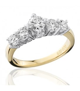 1 Carat Round Brilliant Five Stone Diamond Ring 18Kt Yellow Gold