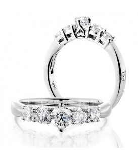 Rings - 1 Carat Round Brilliant Eternitymark Five Stone Diamond Ring 18Kt White Gold