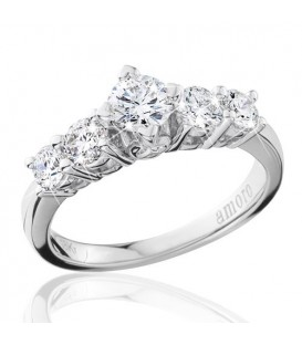 1 Carat Round Brilliant Eternitymark Five Stone Diamond Ring 18Kt White Gold