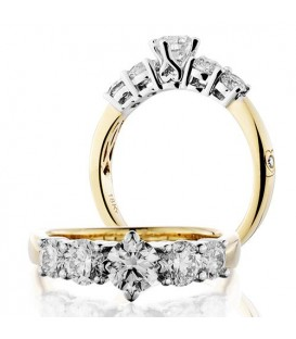 Rings - 1.50 Carat Round Brilliant Five Stone Diamond Ring 18Kt Yellow Gold