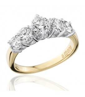 1.50 Carat Round Brilliant Five Stone Diamond Ring 18Kt Yellow Gold