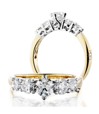 Rings - 1.50 Carat Round Brilliant Eternitymark Five Stone Diamond Ring 18Kt Yellow Gold