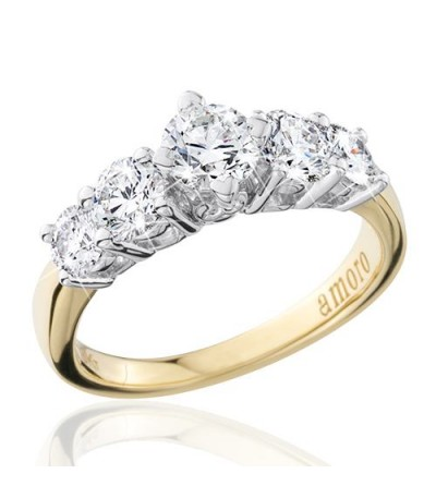 1.50 Carat Round Brilliant Eternitymark Five Stone Diamond Ring 18Kt Yellow Gold