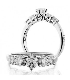 Rings - 1.50 Round Brilliant Five Stone Diamond Ring 18Kt White Gold