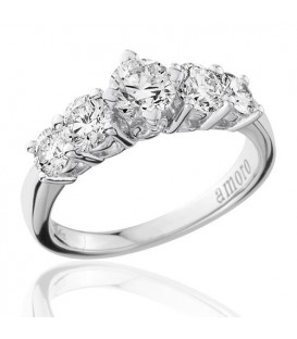1.50 Round Brilliant Five Stone Diamond Ring 18Kt White Gold