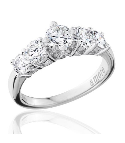 1.50 Round Brilliant Eternitymark Five Stone Diamond Ring 18Kt White Gold