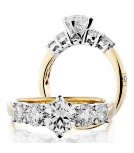 Rings - 2 Carat Round Brilliant Diamond Ring 18Kt Yellow Gold