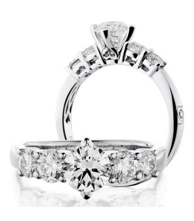 Rings - 2 Carat Round Brilliant Diamond Ring 18Kt White Gold
