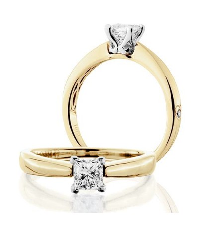 Rings - 0.50 Carat Princess Cut Diamond Solitaire Ring 18Kt Yellow Gold
