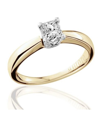 0.50 Carat Princess Cut Diamond Solitaire Ring 18Kt Yellow Gold