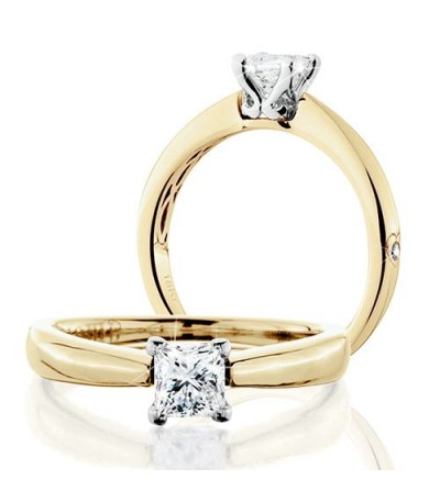 Rings - 0.50 Carat Princess Cut Eternitymark Diamond Solitaire Ring 18Kt Yellow Gold