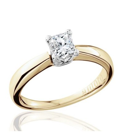 0.50 Carat Princess Cut Eternitymark Diamond Solitaire Ring 18Kt Yellow Gold