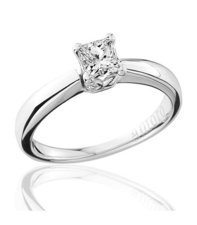 0.50 Carat Princess Cut Diamond Solitaire Ring 18Kt White Gold