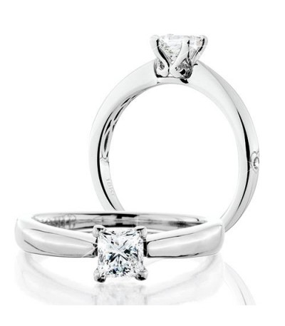 Rings - 0.50 Carat Princess Cut Eternitymark Diamond Solitaire Ring 18Kt White Gold