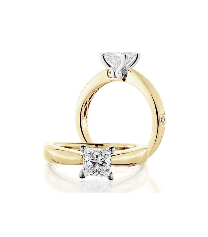 Princess Cut 0.75Ct Diamond Ring 18Kt Yellow Gold | Amoro