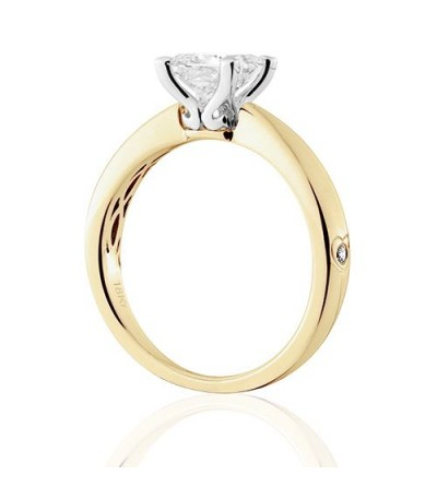 0.75 Carat Princess Cut Diamond Solitaire Ring 18Kt Yellow Gold