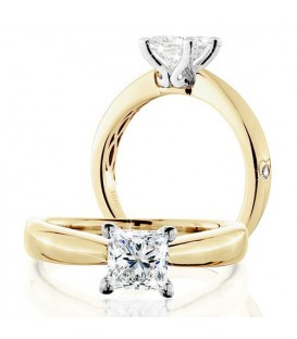Rings - 0.75 Carat Princess Cut Eternitymark Diamond Solitaire Ring 18Kt Yellow Gold
