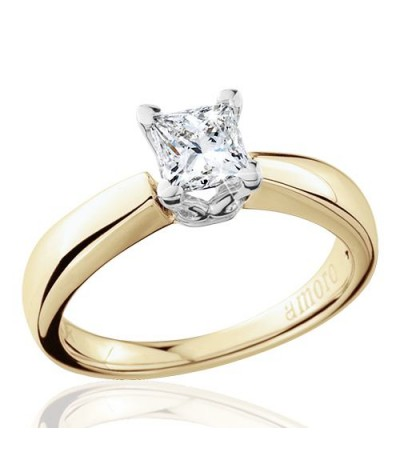 0.69 Carat Princess Cut Eternitymark Diamond Solitaire Ring 18Kt Yellow Gold