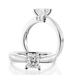 Rings - 0.75 Carat Princess Cut Diamond Solitaire Ring 18Kt White Gold