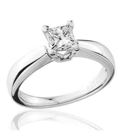 0.75 Carat Princess Cut Diamond Solitaire Ring 18Kt White Gold