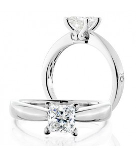 Rings - 0.75 Carat Princess Cut Eternitymark Diamond Solitaire Ring 18Kt White Gold