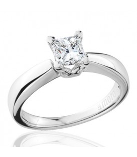 0.69 Carat Princess Cut Eternitymark Diamond Solitaire Ring 18Kt White Gold