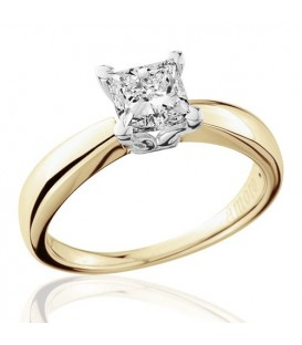 1 Carat Princess Cut Diamond Solitaire Ring 18Kt Yellow Gold